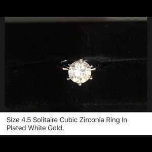Jewelry - Size 4.5 Solitaire Cubic Zirconia Ring, Plated WG